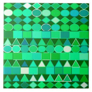 Modern Tribal Geometric, Emerald Green and Aqua Tile