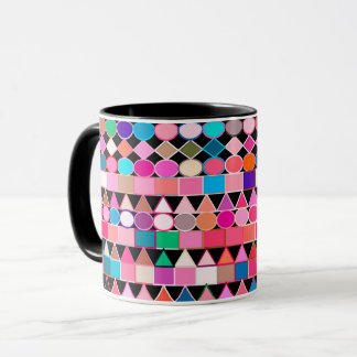 Modern Tribal Geometric, Jewel Colors on Black Mug