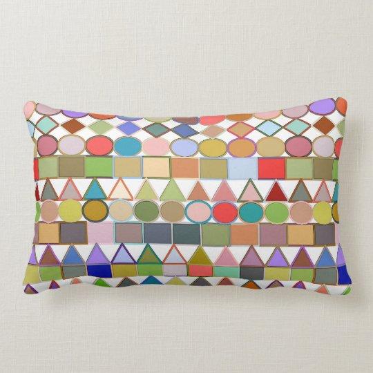 Modern Tribal Geometric, Multi Pastels on white Lumbar Pillow