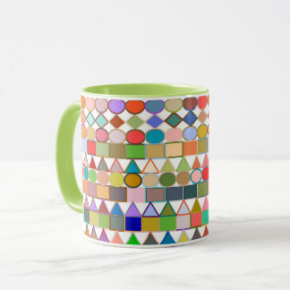 Modern Tribal Geometric, Multi Pastels on white Mug