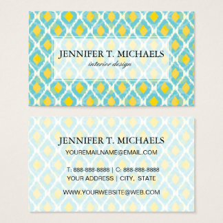 Modern tribal ikat blue yellow fashion business card