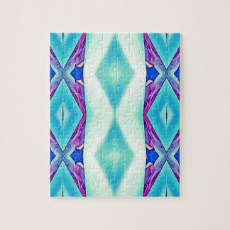 Modern Tribal Shades Of Teal Lavender Jigsaw Puzzle