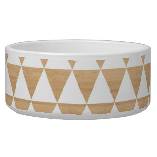 Modern tribal wood geometric chic andes pattern dog water bowls