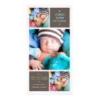 Modern Trio Photo Baby Boy Birth Announcement Card