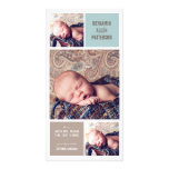 Modern Trio Photo Baby Boy Birth Announcement Personalized Photo Card
