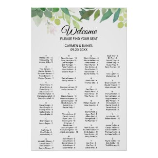 Modern Tropical Floral Alphabetical Seating Chart