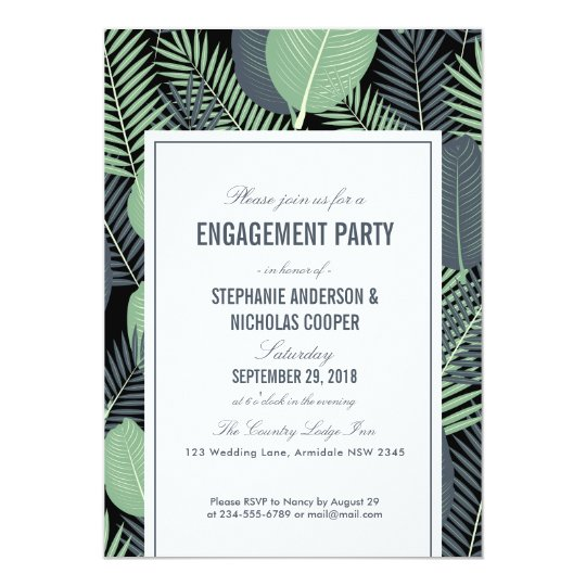 Modern tropical green leaves wedding card