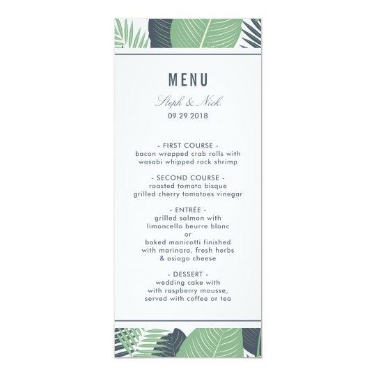 Modern tropical green leaves wedding card