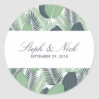 Modern tropical green leaves wedding classic round sticker
