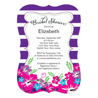 "Modern Tropical Hibiscus Flowers Bridal Shower 5"" X 7"" Invitation Card"