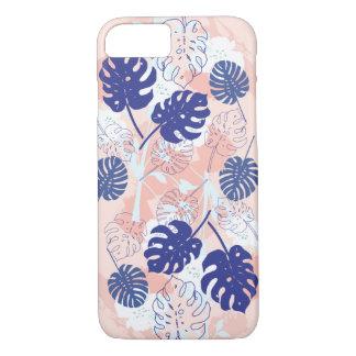 Modern Tropical Monstera Leaf Pattern Peach/Blue iPhone 8/7 Case