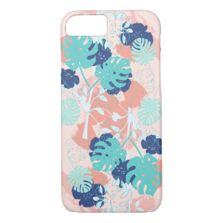 Modern Tropical Monstera Leaf Pattern Peach/Mint Case-Mate iPhone Case