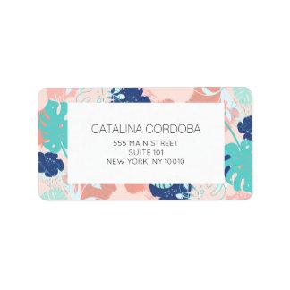 Modern Tropical Monstera Leaf Pattern Peach/Mint Label
