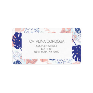 Modern Tropical Monstera Leaf Pattern White/Blue Label
