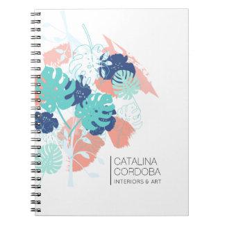 Modern Tropical Monstera Leaf Pattern White/Mint Notebook