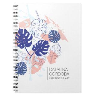 Modern Tropical Monstera Leaf Pattern White Notebook