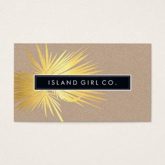 MODERN TROPICAL PALM FRONDS logo trendy gold kraft Business Card