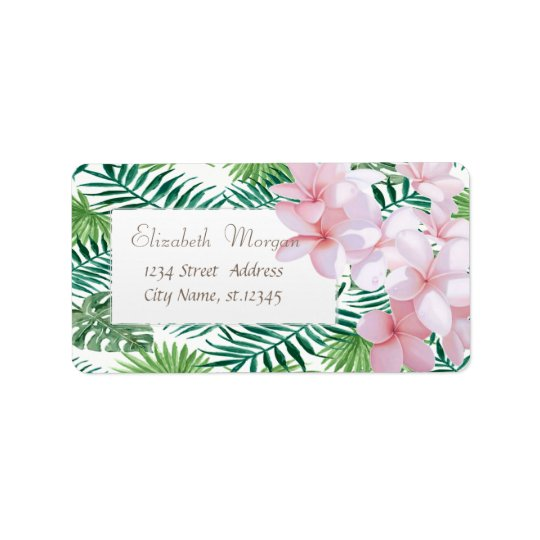 Modern Tropical Palm Leaves,Tropical Flowers Label