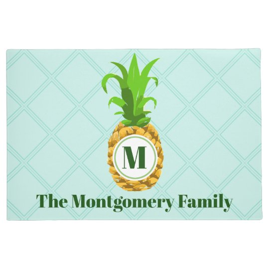 Modern Tropical Pineapple & Monogram Family Name Doormat