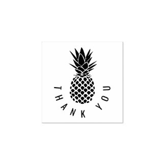 modern tropical pineapple thank you rubber stamp
