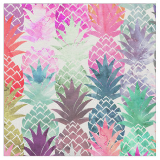 Modern tropical pineapples pastel watercolor fabric