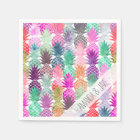 Modern tropical pineapples pastel watercolor napkin