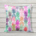 Modern tropical pineapples pastel watercolor outdoor pillow