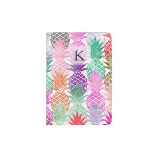 Modern tropical pineapples pastel watercolor passport holder