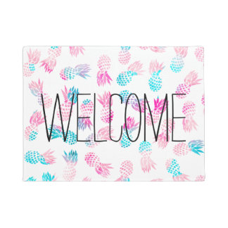 Modern tropical pineapples watercolor illustration doormat
