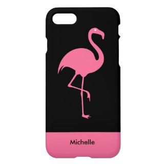 Modern Tropical Pink Flamingo Monogram iPhone 8/7 Case