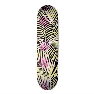 Modern tropical pink floral white palm tree skate board decks