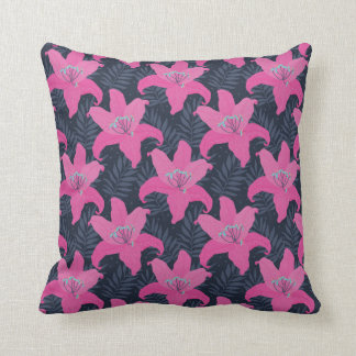 Modern Tropical Pink Hibiscus Flower Throw Pillow