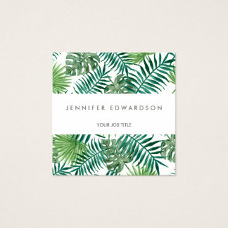 Modern tropical watercolor leaves professional square business card