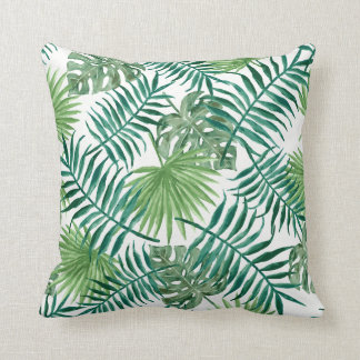 Modern tropical watercolor leaves throw pillow