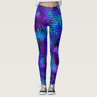 Modern Tropical Watercolor Purple Blue Pattern Leggings