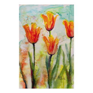 Modern Tulip Watercolor Painting  Poster