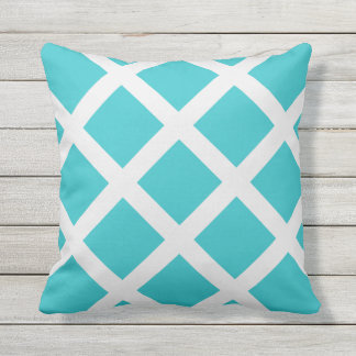 Modern Turquoise and White Criss Cross Stripes Throw Pillow