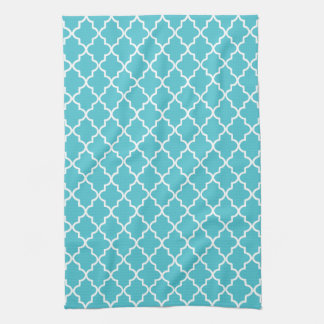 Modern Turquoise and White Moroccan Quatrefoil Kitchen Towel