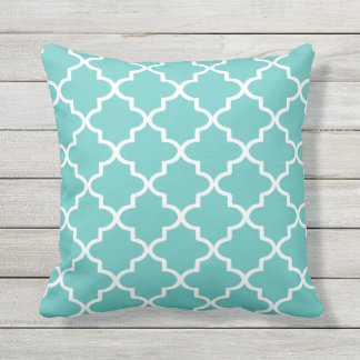 Modern Turquoise and White Moroccan Quatrefoil Outdoor Pillow