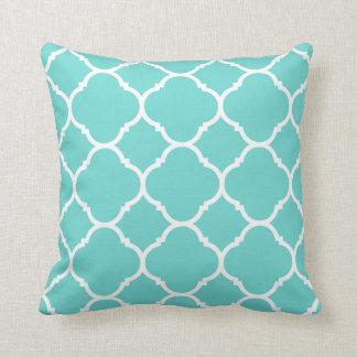 Modern Turquoise and White Quatrefoil Throw Pillow