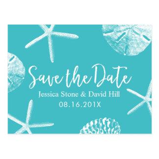 Modern Turquoise Beach Wedding Save the Date Postcard