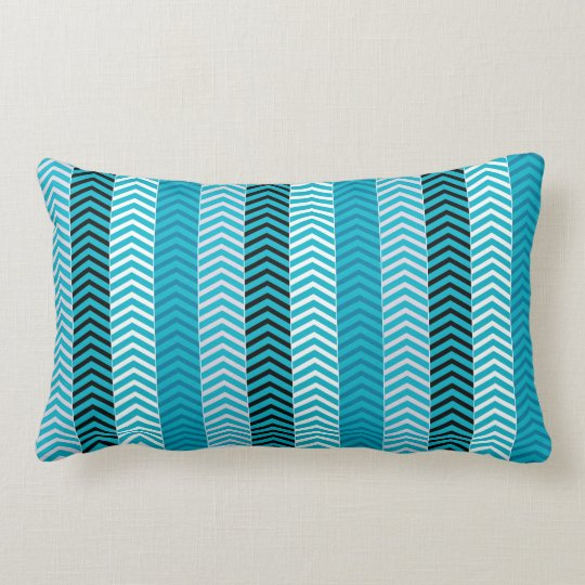 Modern Turquoise Blue Variegated Chevron Stripes Lumbar Pillow