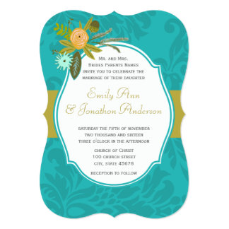 Modern Turquoise  Chartreuse Damask Wedding Invite