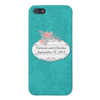 Modern Turquoise  Chartreuse Damask Wedding iPhone 5 Covers