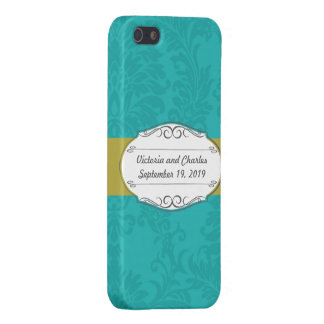 Modern Turquoise  Chartreuse Damask Wedding Case For iPhone 5/5S