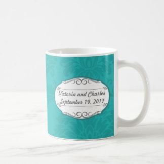 Modern Turquoise Chartreuse Damask Wedding Mug