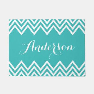 Modern Turquoise Chevron Custom Monogram Doormat