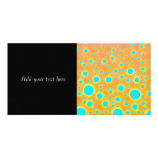 Modern Turquoise Circles over Orange Background Personalized Photo Card