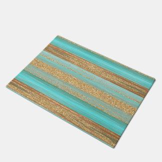 Modern Turquoise Faux Gold Glitter Stripes Pattern Doormat
