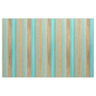 Modern Turquoise Faux Gold Glitter Stripes Pattern Fabric
